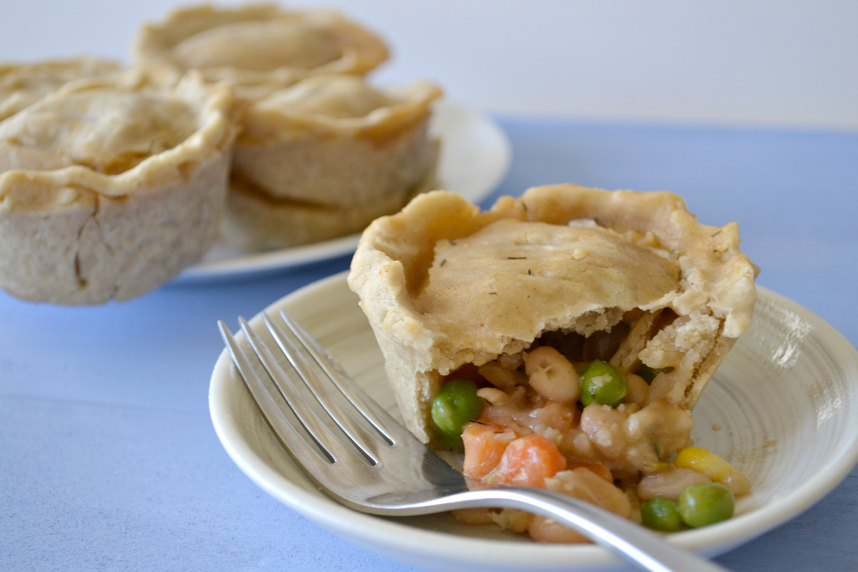 Veggie Pot Pie Cupcakes (with a gluten free crust)